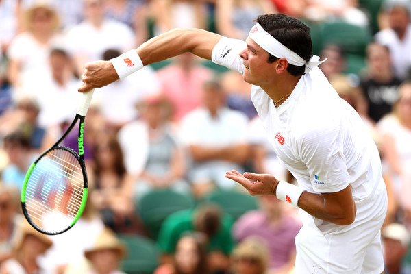 Milos Raonic serves during his second round win at Wimbledon. Photo: Matthew Stockman/Getty Images