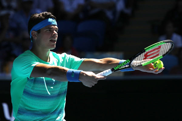 Raonic prepares to serve in his second round win. Photo: Mark Kolbe/Getty Images