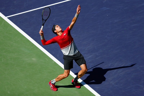 Raonic serves during his second round victory. Photo: Julian Finney/Getty Images