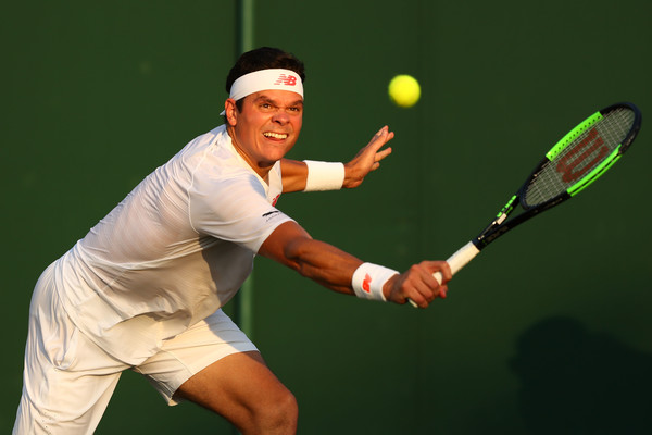 Raonic lunges for a backhand on Friday evening. The Canadian struggled in the first three sets played on Friday. Photo: Michael Steele/Getty Images