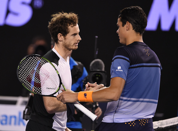 Murray (left) and Raonic shake hands after their semifinal clash. Photo: William West/AFP/Getty Images