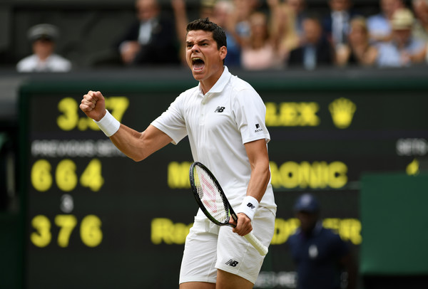 Milos Raonic pumps his fist during his semifinal win at Wimbledon. Photo: Shaun Botterill/Getty Images