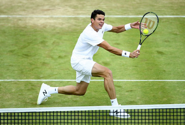 Raonic hits a backhand volley during his semifinal win. Photo: Jordan Mansfield/Getty Images