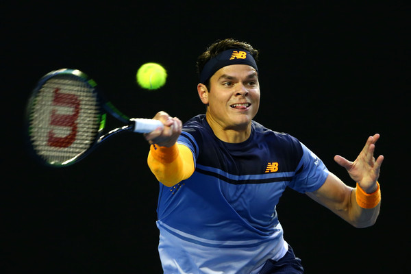 Milos Raonic drills a forehand during his semifinal on Friday. Photo: Quinn Rooney/Getty Images