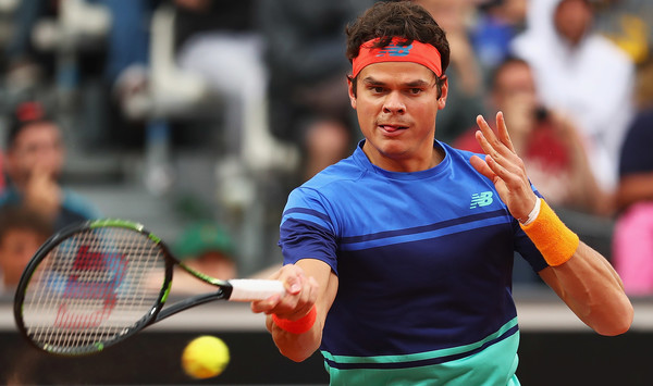 Raonic hits a forehand during his most recent match last week in Rome. Photo: Matthew Lewis/Getty Images