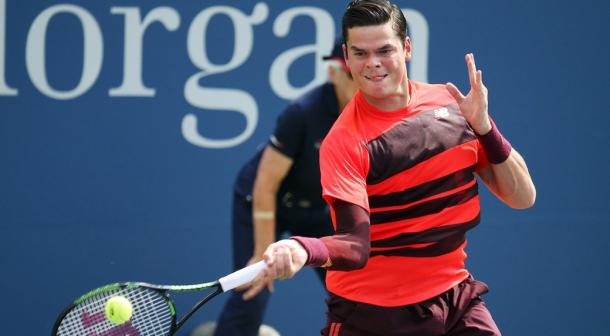 Raonic hits a forehand at last year's US Open. Photo: Adam Hunger/AP