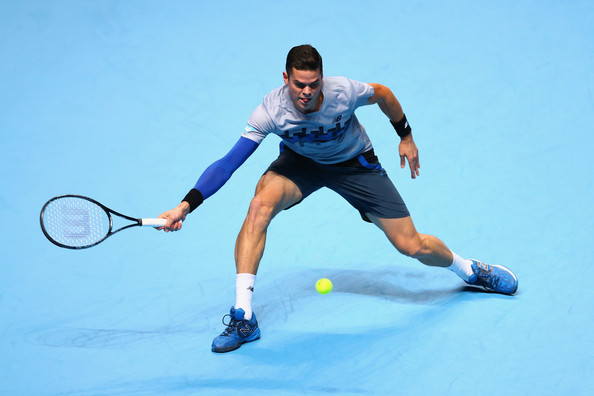 Raonic lunges for a forehand during a match at the O2 in 2014. Photo: Clive Brunskill/Getty Images