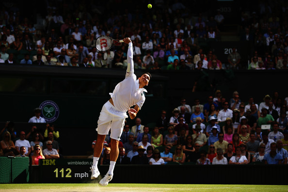 Raonic serves during his semifinal at Wimbledon in 2014. Photo: Al Bello/Getty Images