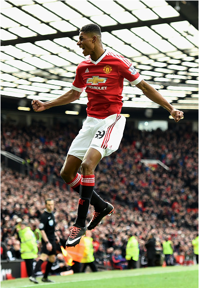 Marcus Rashford celebrates scoring against Arsenal (Photo: Laurence Griffiths / Getty Images)