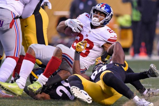 New York Giants running back Rashad Jennings against the Pittsburgh Steelers | Source: Don Wright - AP Photo