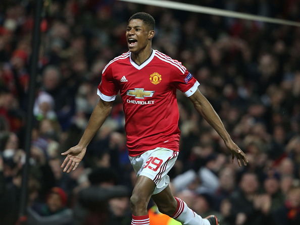 Rashford celebrates scoring on his debut | Photo: Matthew Peters/Manchester United