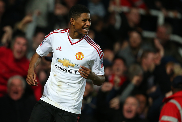 Rashford celebrates his sublime goal | Photo: Catherine Ivill - AMA