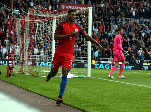Rashford celebrates his debut England goal | Photo: Nigel Roddis/The FA