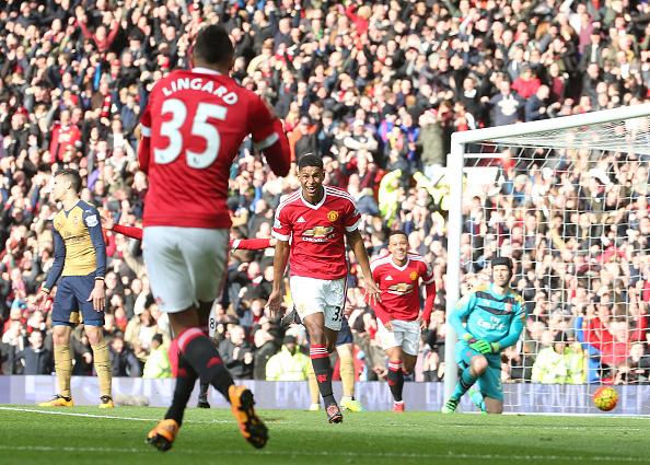 Rashford celebrates with fellow academy graduate Jesse Lingard | Photo: Matthew Peters/Manchester United