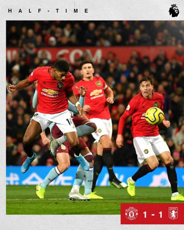 Rashford empata para o United (Divulgação/Manchester United)
