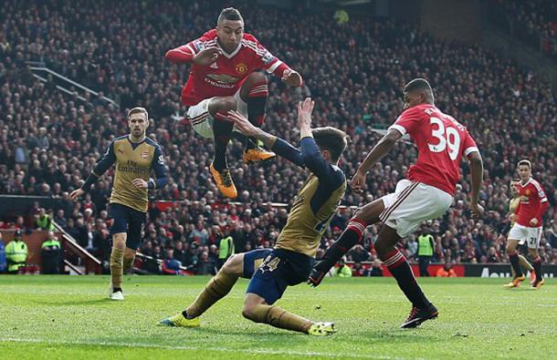 Rashford scoring his first of two goals against Arsenal   Photo: Getty Images