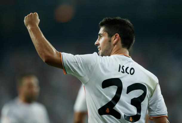 Isco celebrates a goal with Real Madrid.