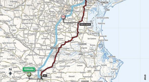 Recorrido etapa 13 Giro de Italia: Ferrara - Nervesa della Battaglia | Foto: Giro de Italia