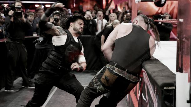 Reigns destroyed Strowman last week. Photo- WWE.com