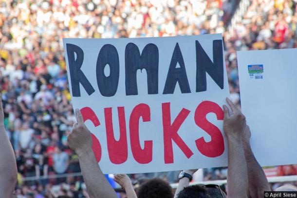 Fans haven't taken to Reigns' main event push. Photo- www.cultofwhatever.com