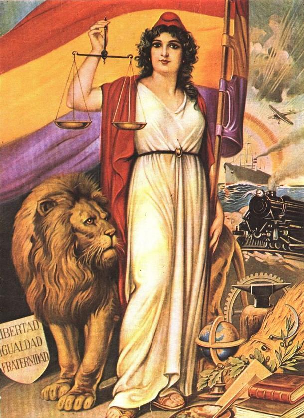 Alegoría de la II República Española. Autores: J. Barreira y J. Esteller (1931). Imprenta S. Durá Valencia (Imagen: Basilio at French, en Wikipedia).