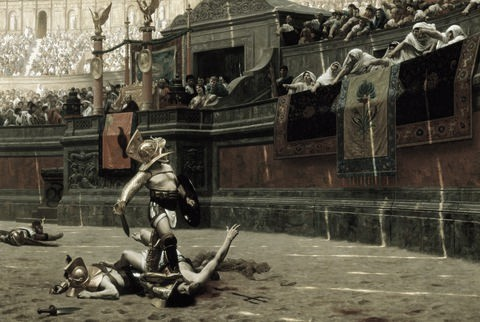 Cuadro romántico del Siglo XIX que representa a un victorioso gladiador siendo vitoreado por el público. Fuente: Wikicomons