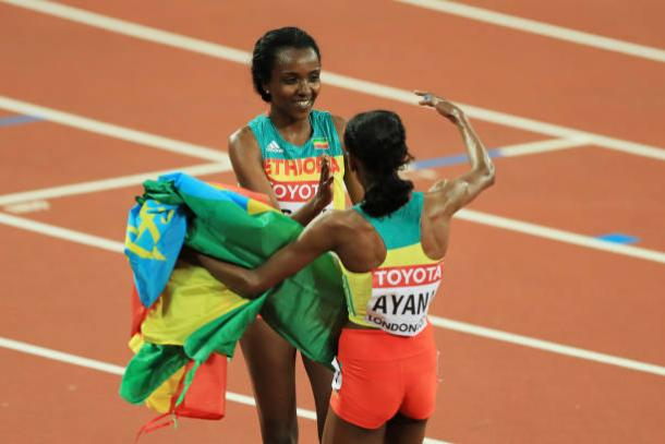 Dibaba and Ayana celebrate after winning silver and gold respectively (Getty/Richard Heathcote)