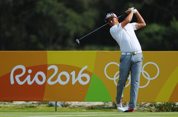 Rickie Fowler hits a tee shot during a practice round at the Olympics/Photo: Scott Halleran/Getty Images