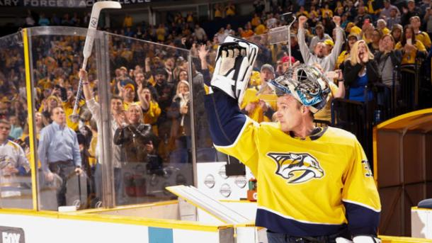 Pekka Rinne's 300th career win helped pace the Predators over the Sharks, February 22, 2018. (Photo: John Russell/Getty Images)