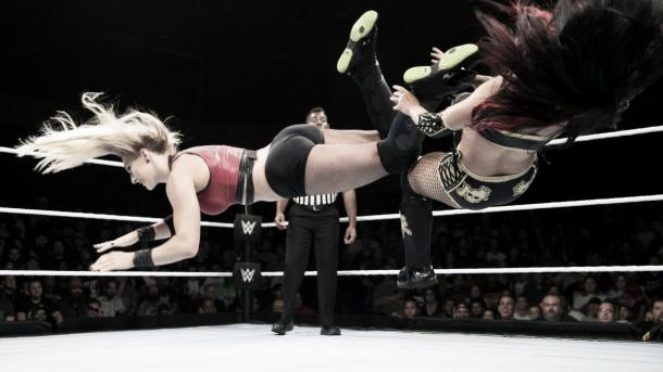 Ripley hits a perfect dropkick. Photo-WWE.com