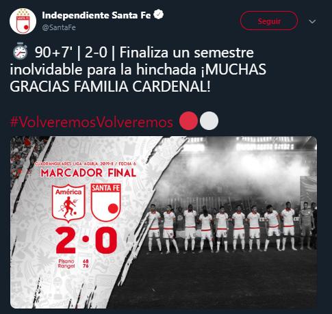 Con este marcador final, finalizó la historia de Independiente Santa Fe en este 2019. Un año único en la historia del equipo, tanto por las dificultades, como por la forma en las que se superaron. Imagen: @SantaFe