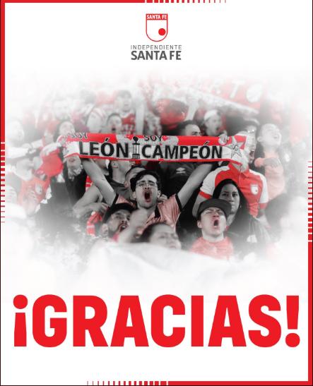 La única palabra que puede haber de parte de un club como Santa Fe a una hinchada que estuvo soportando los momentos más difíciles siempre al lado suyo, Imagen: Independiente Santa Fe.
