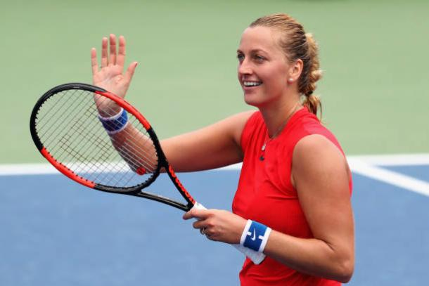 Kvitova celebrates her win over Anett Kontaveit in Cincinnati (/Rob Carr)