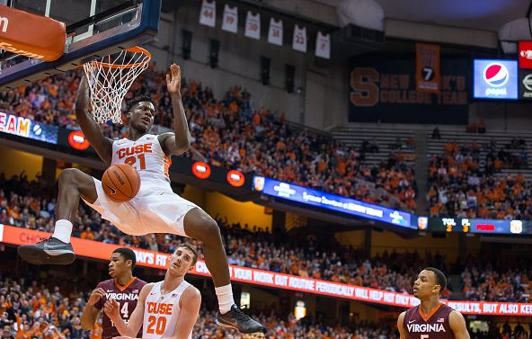 Tyler Roberson #21 of the Syracuse Orange slam dunks during the second half against the Virginia Tech Hokies on February 2, 2016 at The Carrier Dome in Syracuse, New York. Syracuse defeats Virginia Tech 68-60 in overtime. (Photo by Brett Carlsen/Getty Images