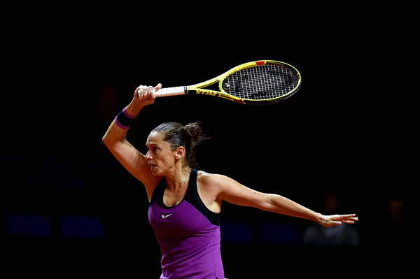 Roberta Vinci in Porsche Tennis Grand Prix action. Photo: Dennis Grombkowski/Bongarts