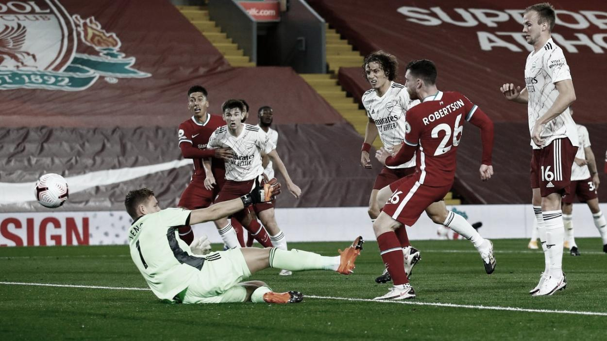 Robertson anotó para Liverpool ante Arsenal. Foto: Premier League.