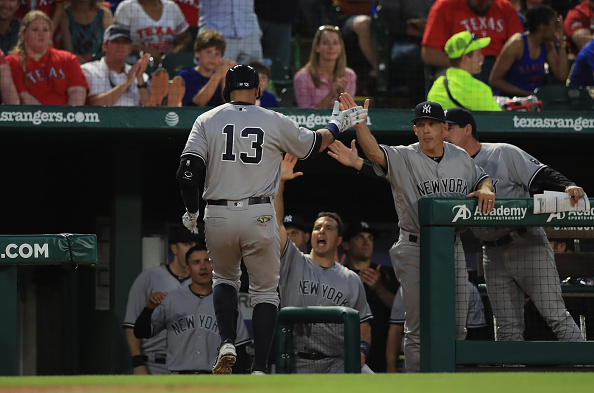 Alex Rodriguez hit his 100th home run at Globe Life Park. | Photo: Ronald Martinez/Getty Images