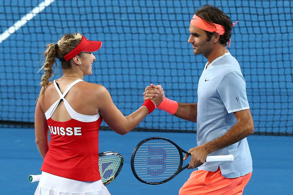 Federer and Bencic had a fairly successful partnership earlier this year | Photo: Paul Kane/Getty Images AsiaPac