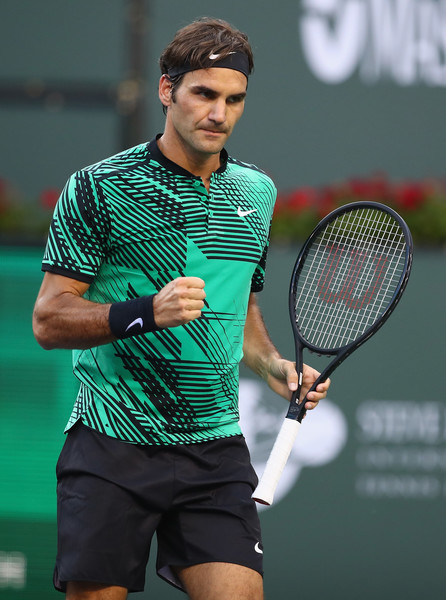 Roger Federer celebrates after winning a point during his straight-sets victory over Rafael Nadal in the fourth round of the 2017 BNP Paribas Open. | Photo: Clive Brunskill/Getty Images