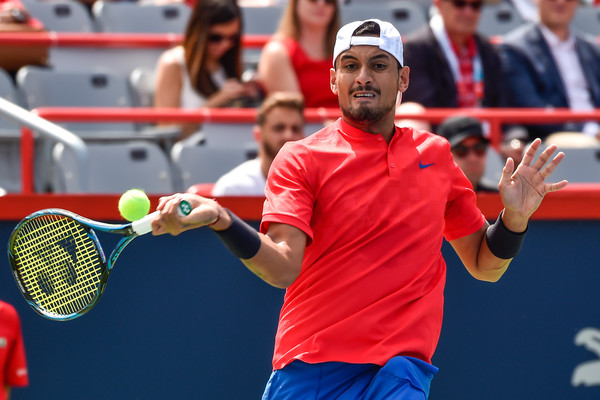 Kyrgios lines up a forehand (Photo: Mina Panagiotakis/Getty Images North America)
