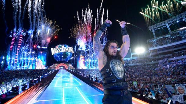 Roman Reigns was victorious against The Deadman at WrestleMania (image: wwe.com)