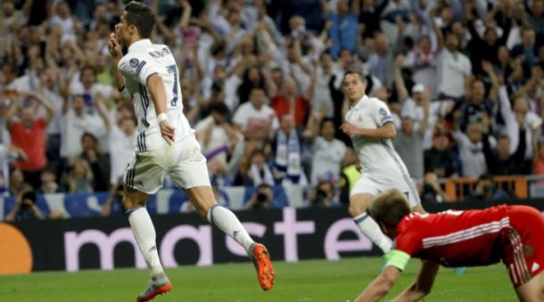 Cristiano Ronaldo esulta contro il Bayern, tuttosport.com