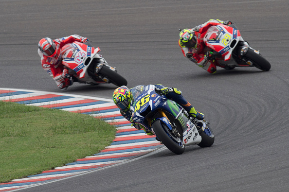 Rossi leads the two Ducati's | Photo: Yamaha Racing