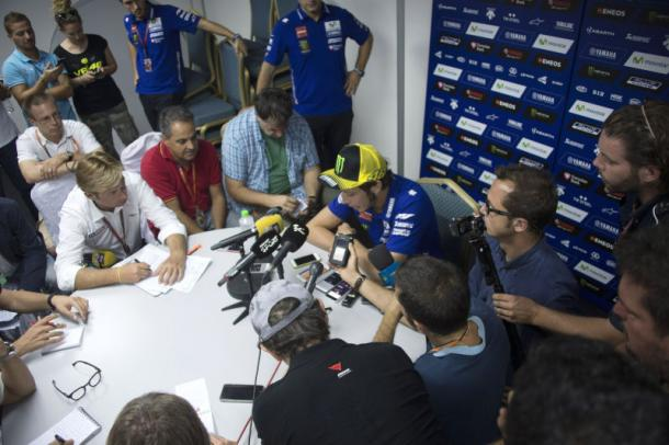 Rossi faced the media following his Marquez incident | Photo: lanesplitter