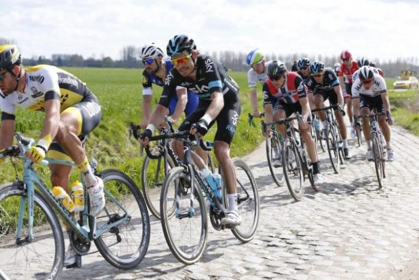 Luke Rowe rides the cobbled roads of the Paris-Roubaix | Photo credit: Cycling Weekly