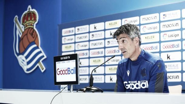 Imanol en rueda de prensa | Fuente: Real Sociedad