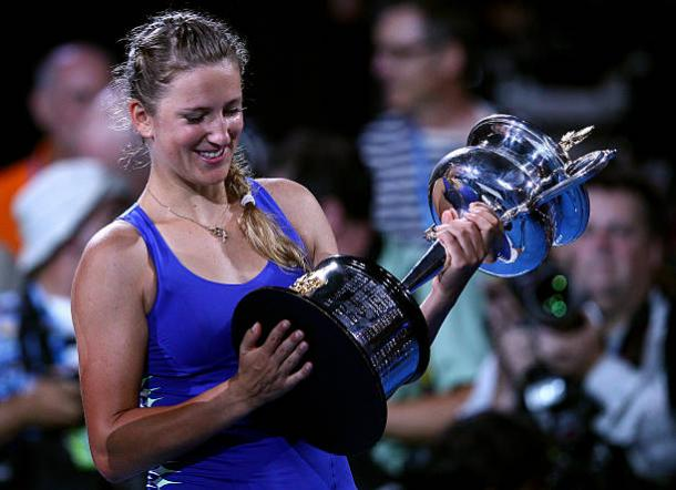 Victoria Azarenka following her first Australian Open triumph back in 2012 (Getty/Ryan Pierse)