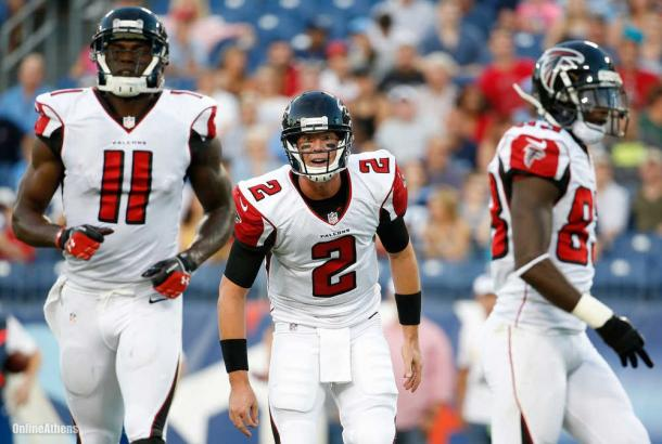 Julio Jones (left) and Matt Ryan (center) are having a great 2016 NFL season | Source: John Russell - AP Photo