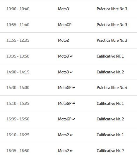Horario sábado   Fuente: MotoGP.com