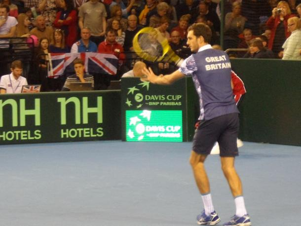 James Ward in Davis Cup action (Source: Glenys Furness)